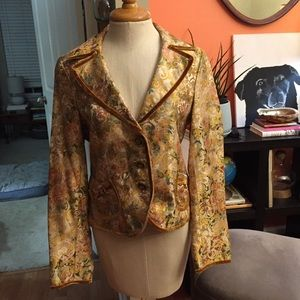 Gold brown brocade blazer CE classiques entier M